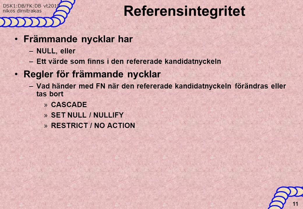 Referensintegritet Främmande nycklar har Regler för främmande nycklar