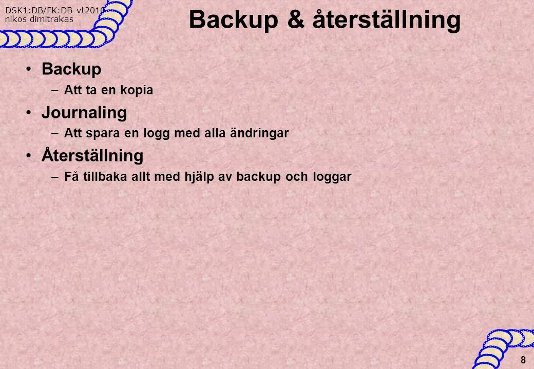 Backup & återställning