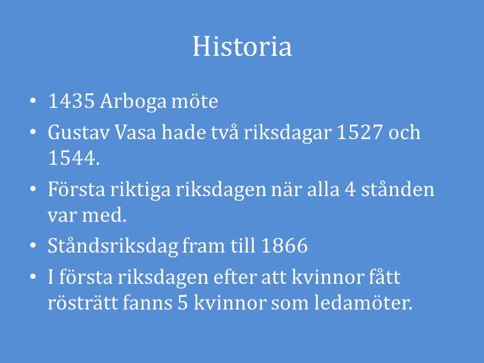Historia 1435 Arboga möte. Gustav Vasa hade två riksdagar 1527 och 1544. Första riktiga riksdagen när alla 4 stånden var med.
