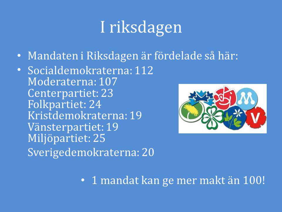 I riksdagen Mandaten i Riksdagen är fördelade så här: