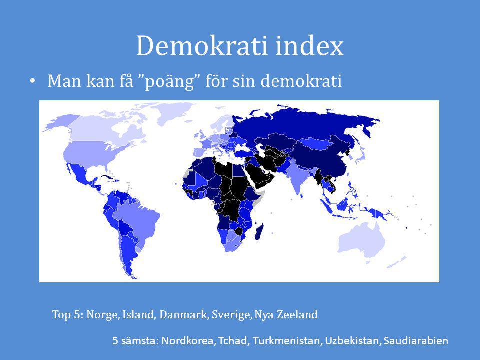 Demokrati index Man kan få poäng för sin demokrati