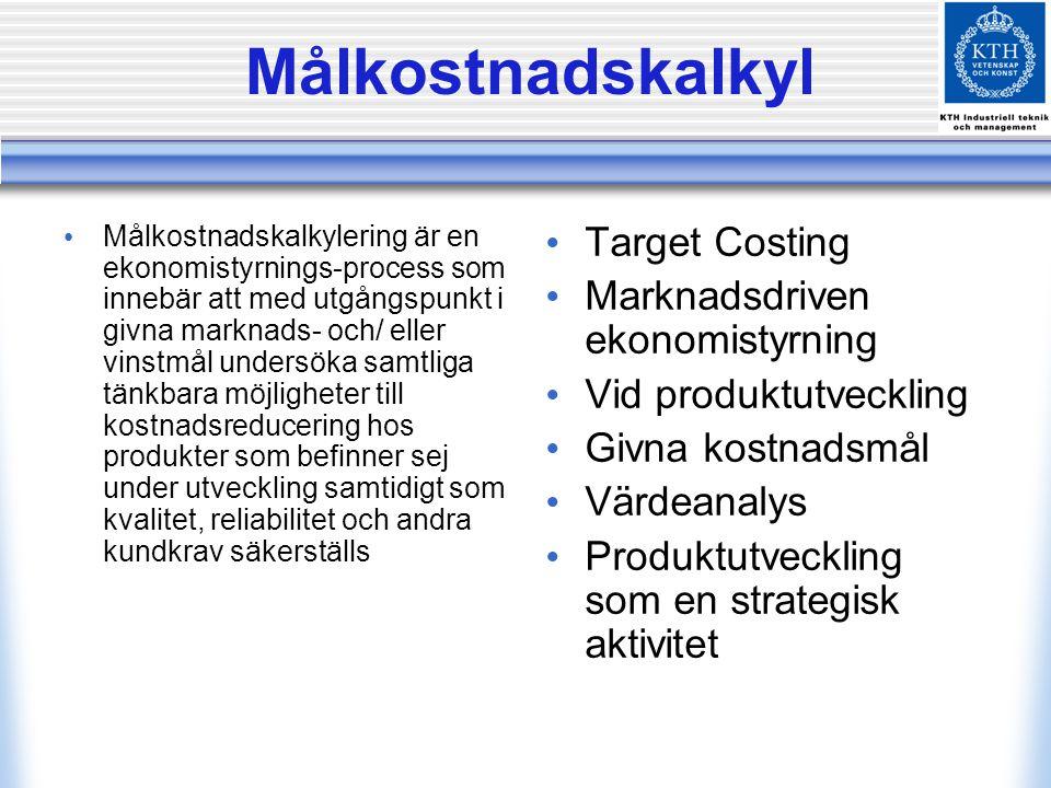 Målkostnadskalkyl Target Costing Marknadsdriven ekonomistyrning