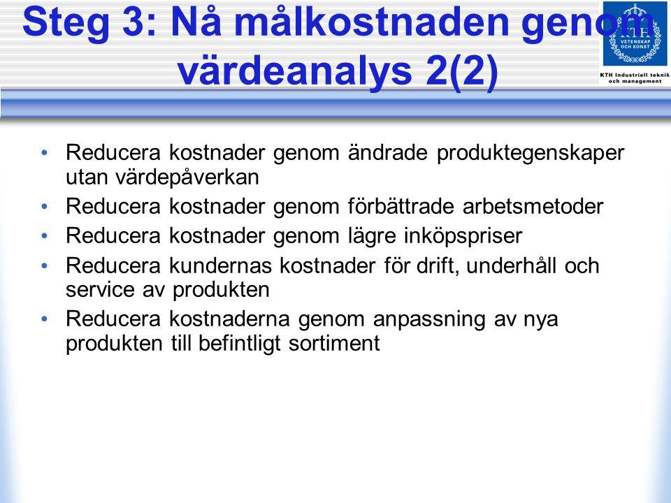 Steg 3: Nå målkostnaden genom värdeanalys 2(2)