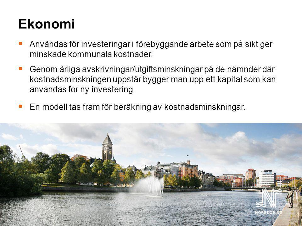 Ekonomi Användas för investeringar i förebyggande arbete som på sikt ger minskade kommunala kostnader.