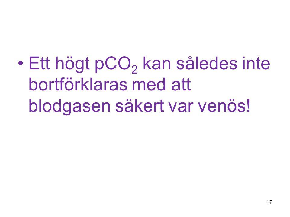 Ett högt pCO2 kan således inte bortförklaras med att blodgasen säkert var venös!
