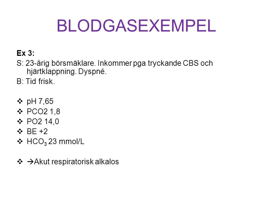 BLODGASEXEMPEL Ex 3: S: 23-årig börsmäklare. Inkommer pga tryckande CBS och hjärtklappning. Dyspné.