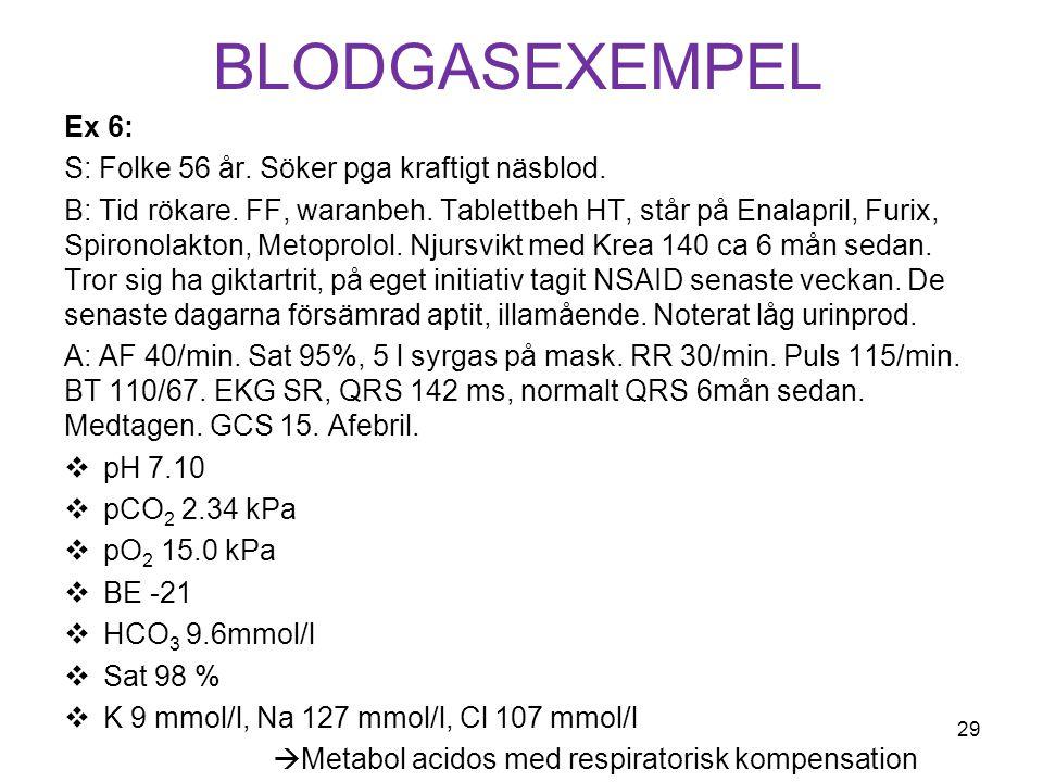 Blodgasexempel Ex 6: S: Folke 56 år. Söker pga kraftigt näsblod.