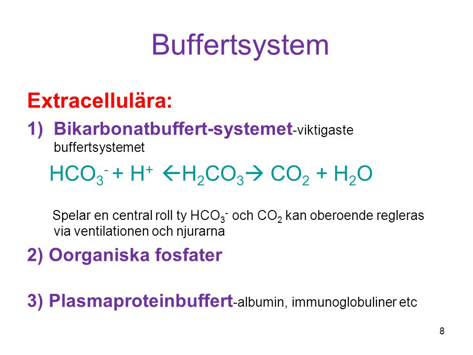 Buffertsystem Extracellulära: