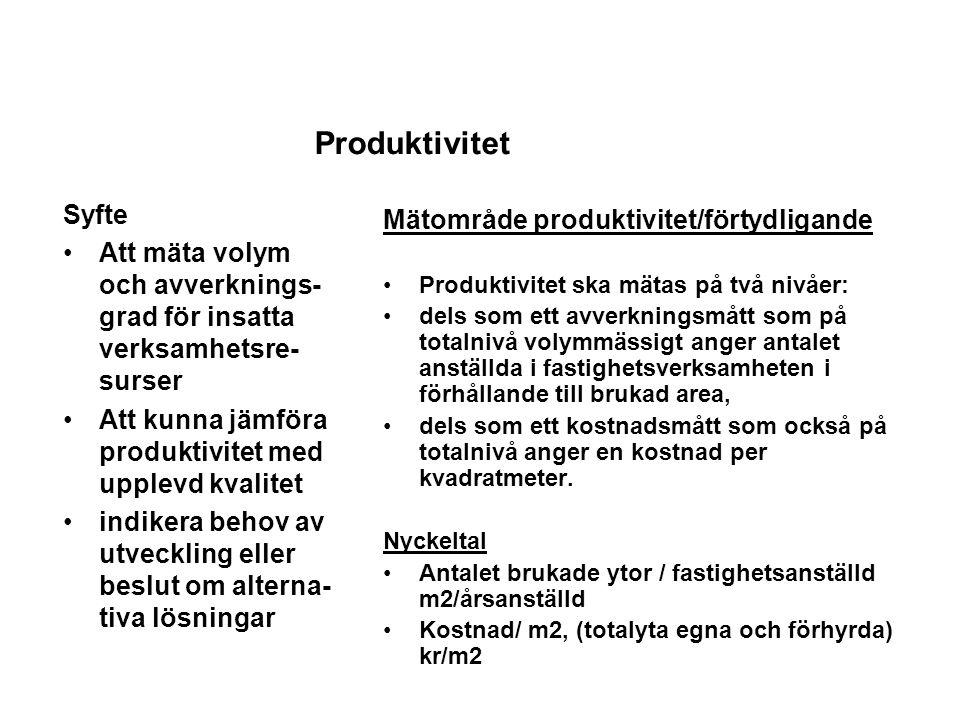 Produktivitet Syfte Mätområde produktivitet/förtydligande