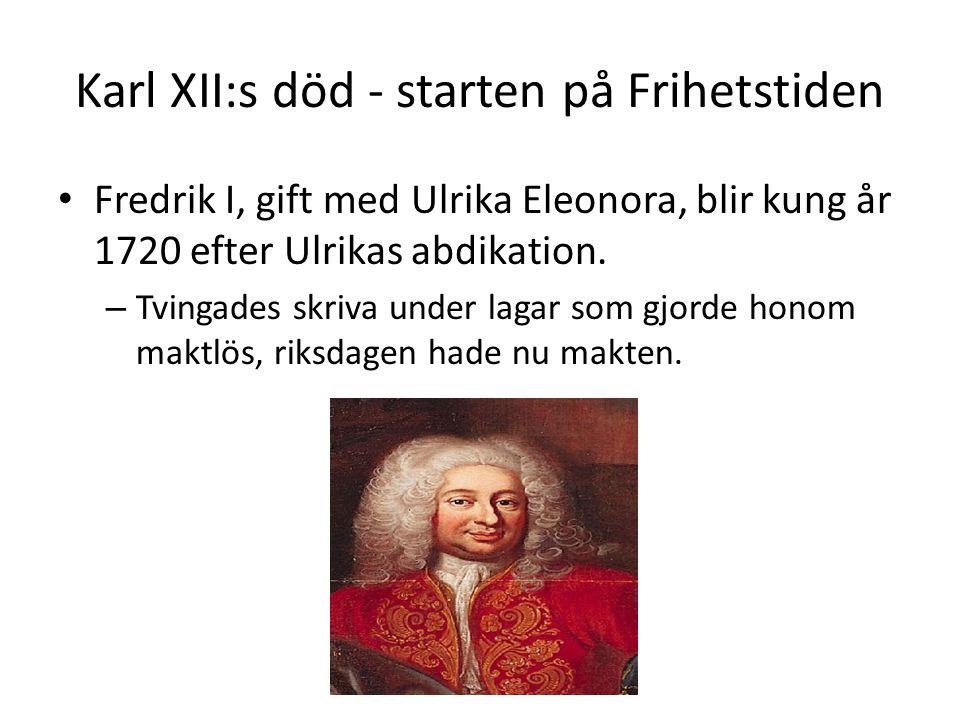 Karl XII:s död - starten på Frihetstiden