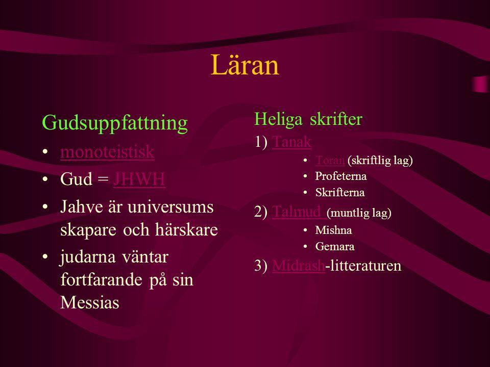 Läran Gudsuppfattning Heliga skrifter monoteistisk Gud = JHWH