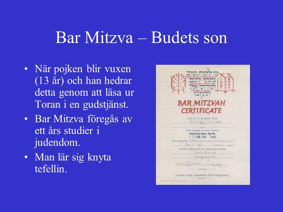 Bar Mitzva – Budets son När pojken blir vuxen (13 år) och han hedrar detta genom att läsa ur Toran i en gudstjänst.