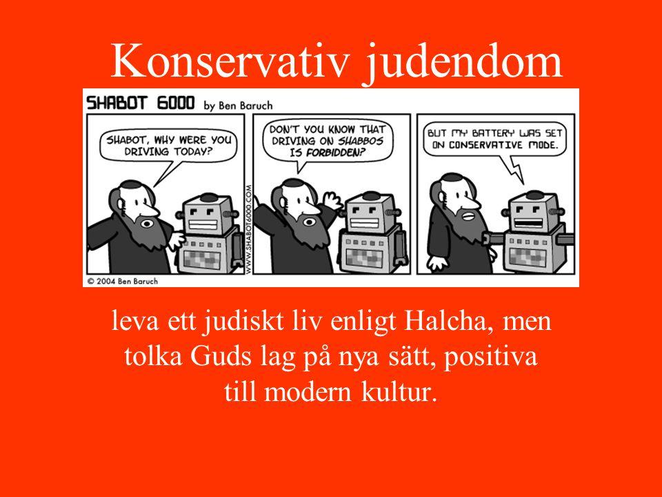 Konservativ judendom leva ett judiskt liv enligt Halcha, men tolka Guds lag på nya sätt, positiva till modern kultur.