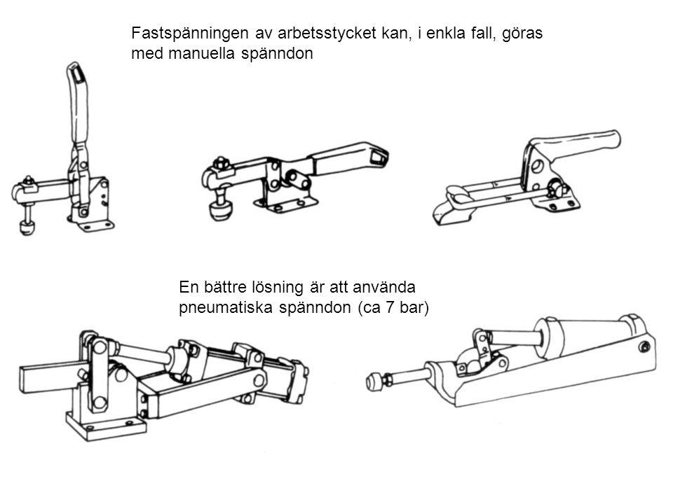 Fastspänningen av arbetsstycket kan, i enkla fall, göras med manuella spänndon