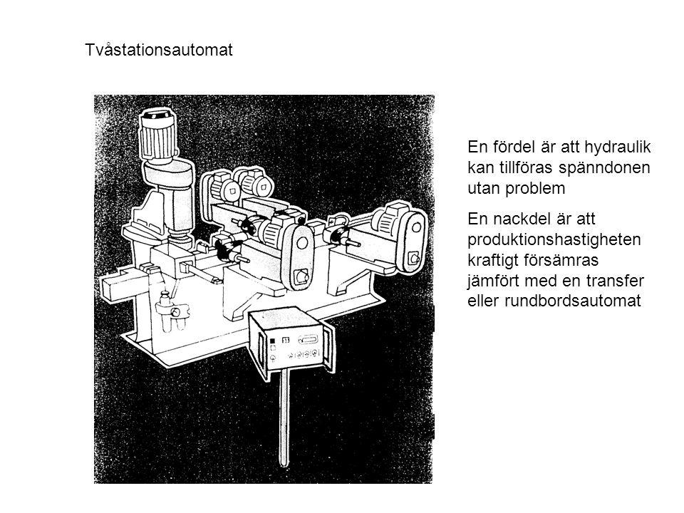 Tvåstationsautomat En fördel är att hydraulik kan tillföras spänndonen utan problem.