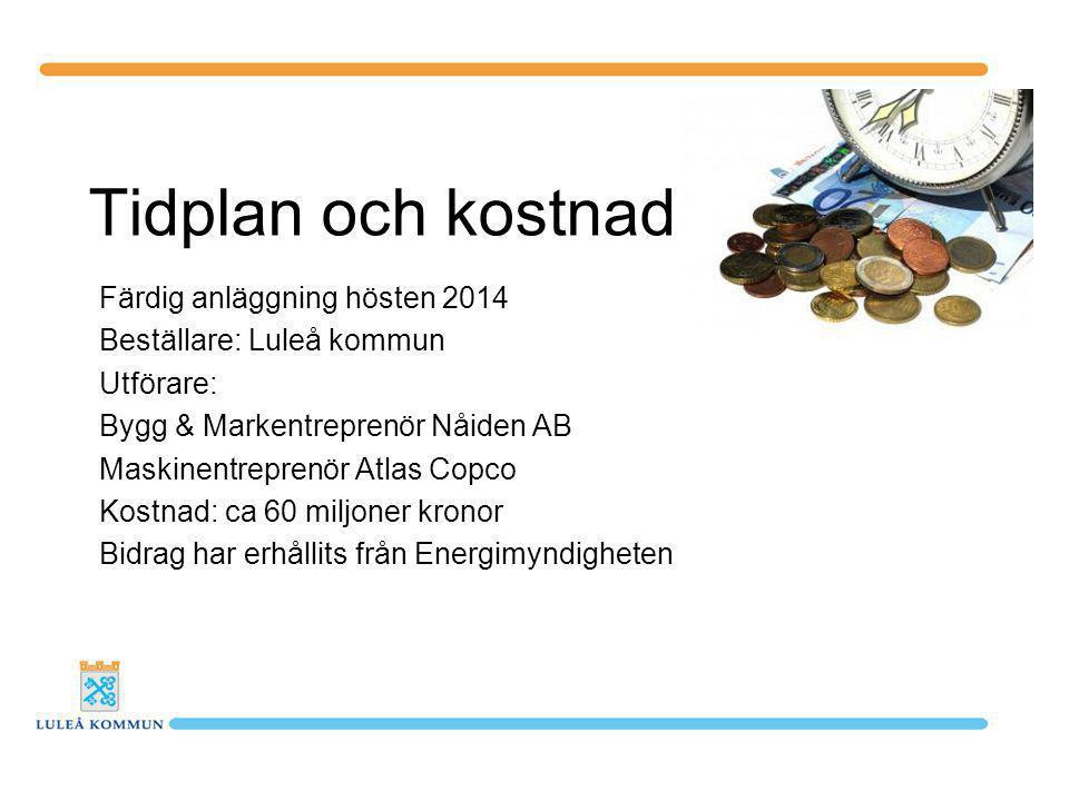 Tidplan och kostnad Färdig anläggning hösten 2014