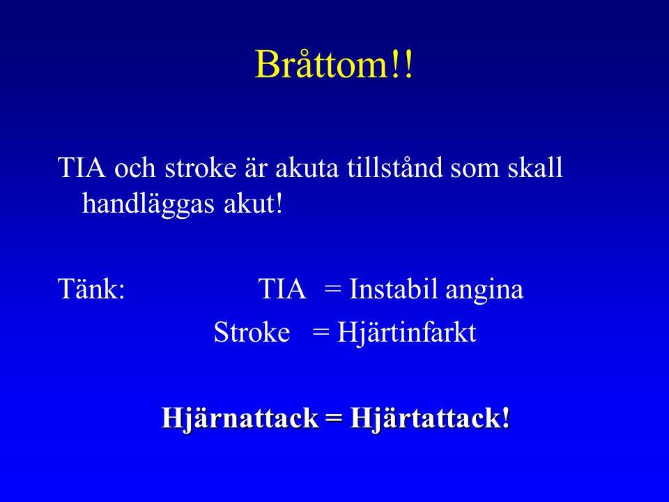 Bråttom!! TIA och stroke är akuta tillstånd som skall handläggas akut!