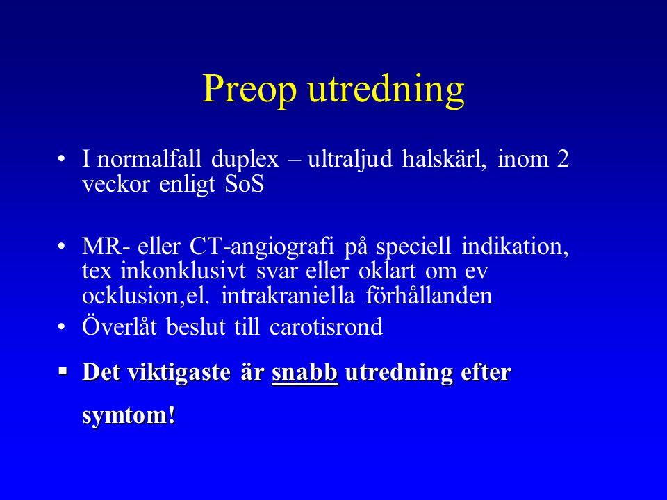 Preop utredning I normalfall duplex – ultraljud halskärl, inom 2 veckor enligt SoS.