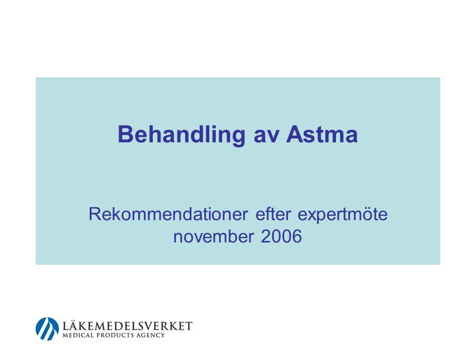 Rekommendationer efter expertmöte november 2006