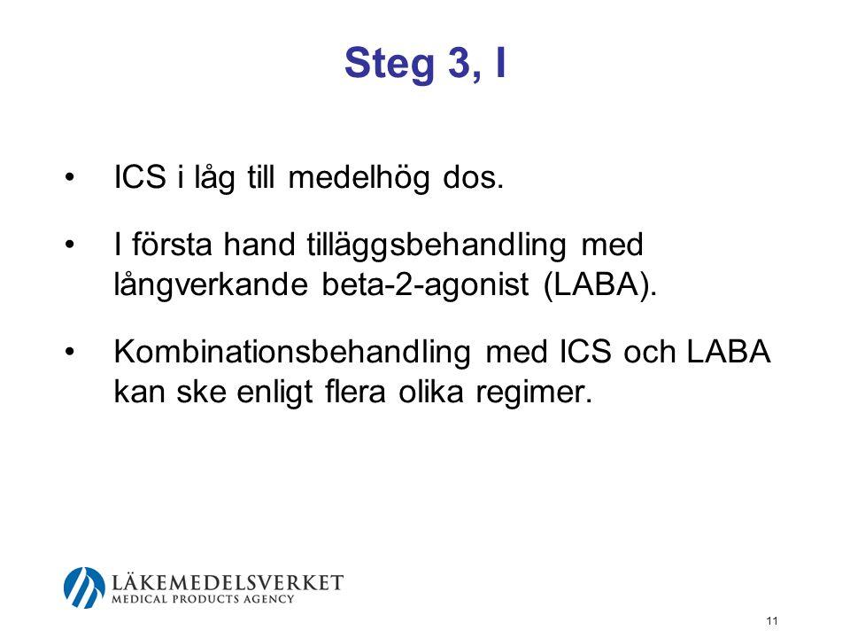 Steg 3, I ICS i låg till medelhög dos.