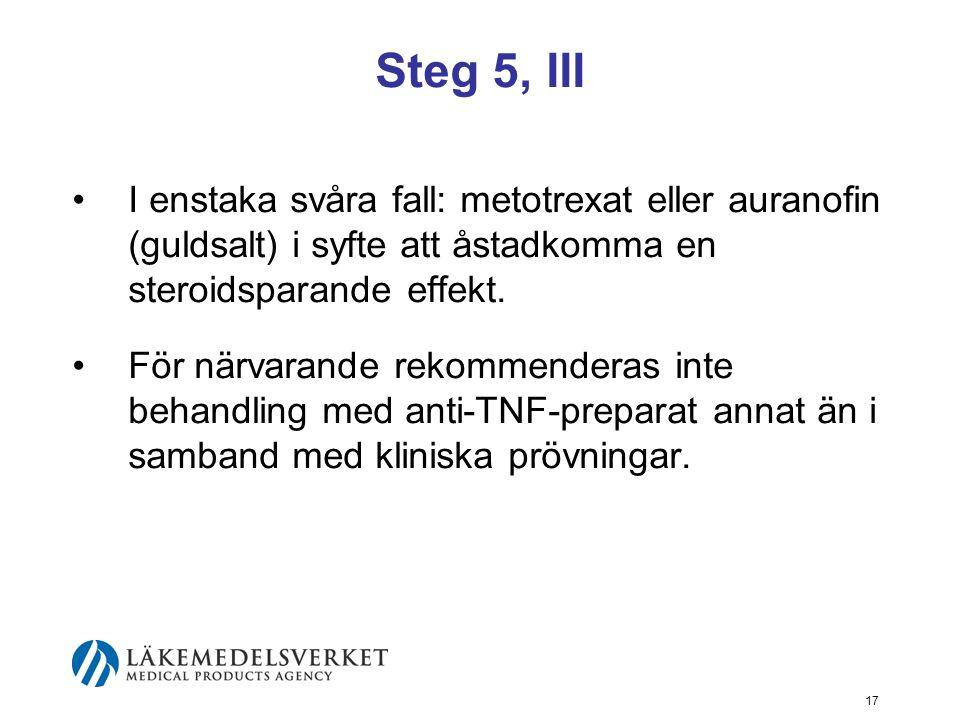 Steg 5, III I enstaka svåra fall: metotrexat eller auranofin (guldsalt) i syfte att åstadkomma en steroidsparande effekt.