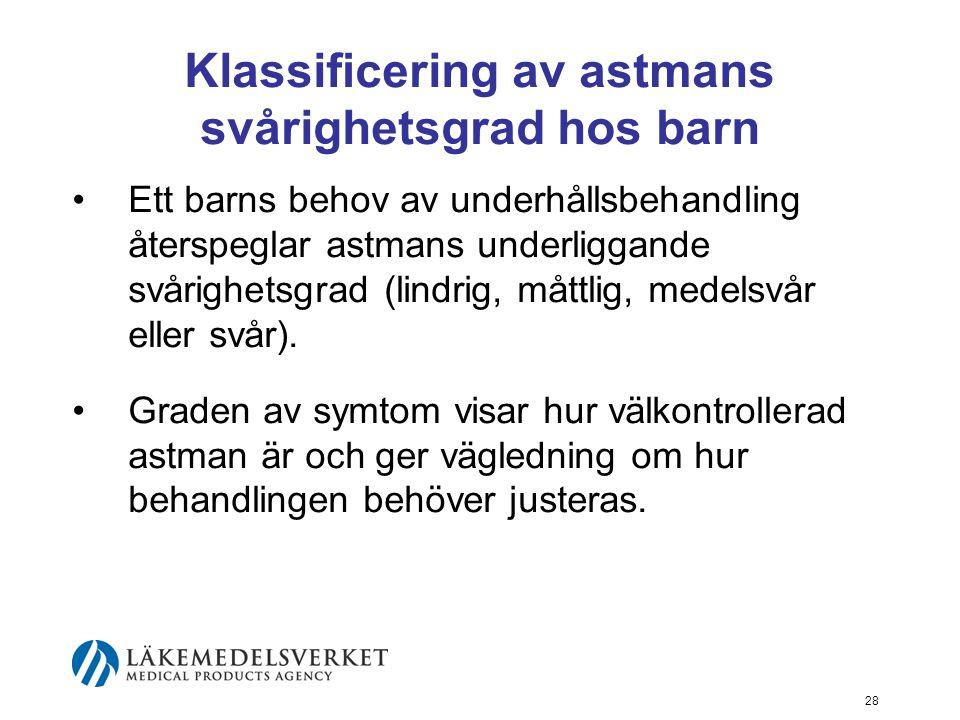 Klassificering av astmans svårighetsgrad hos barn