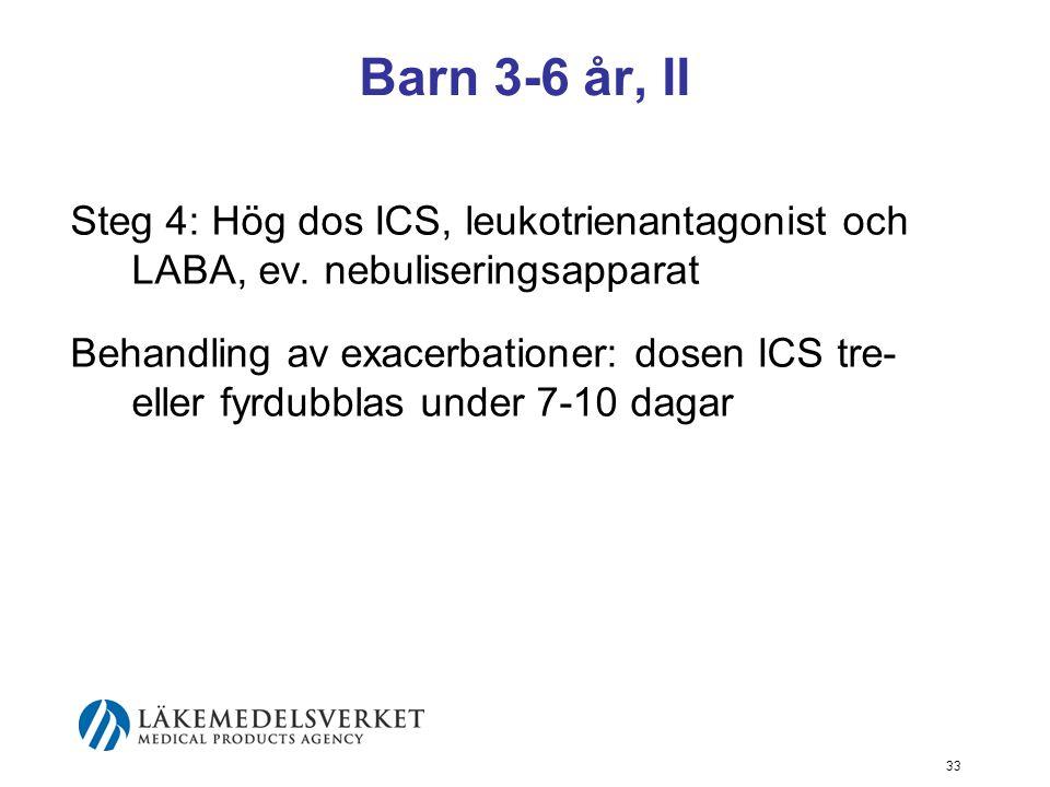 Barn 3-6 år, II Steg 4: Hög dos ICS, leukotrienantagonist och LABA, ev. nebuliseringsapparat.
