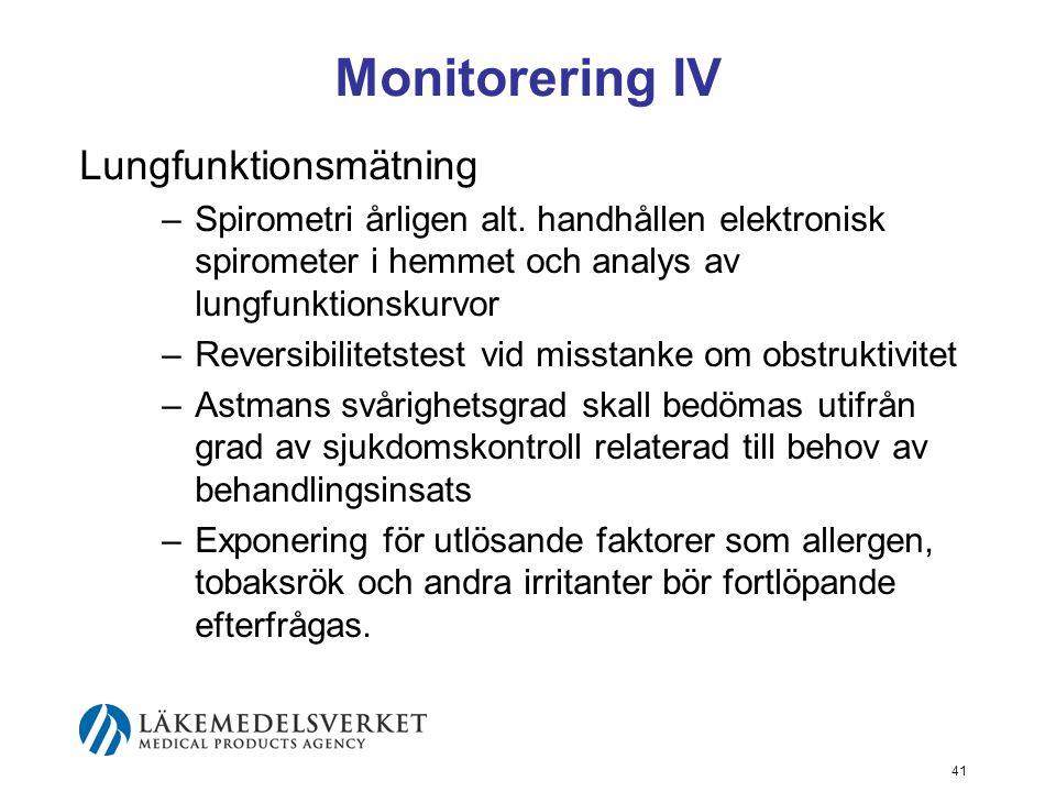 Monitorering IV Lungfunktionsmätning