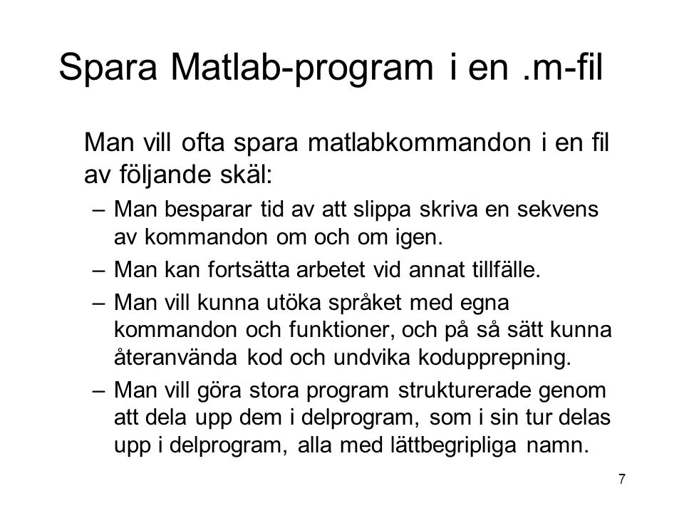 Spara Matlab-program i en .m-fil