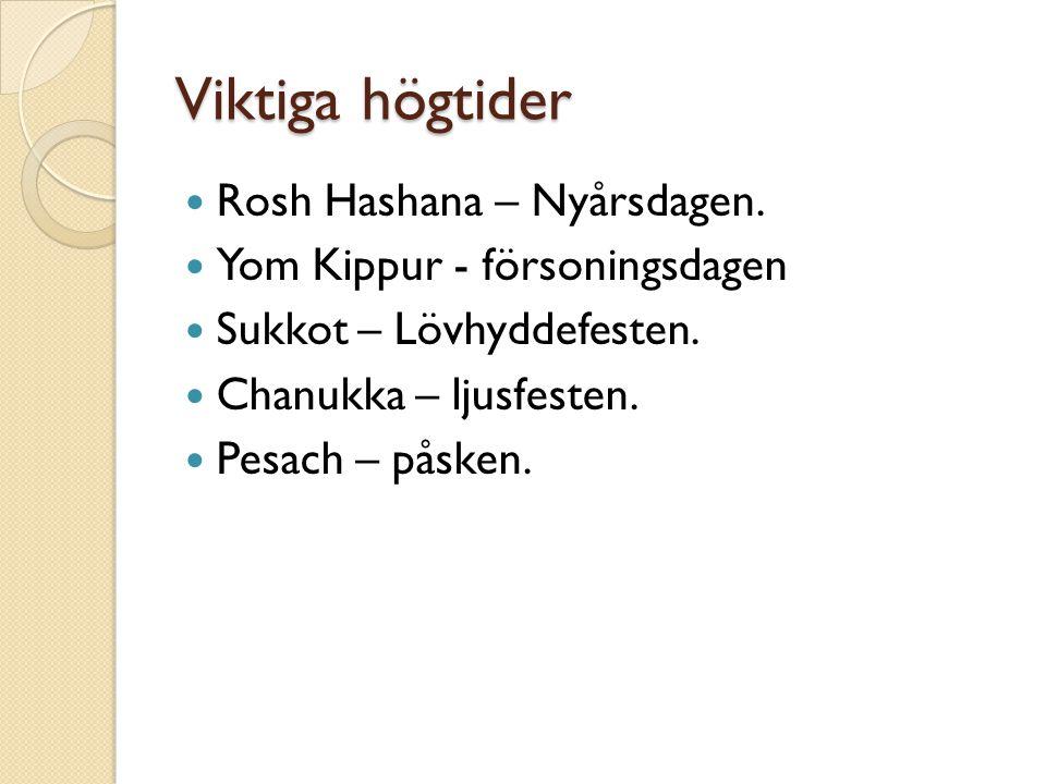 Viktiga högtider Rosh Hashana – Nyårsdagen.
