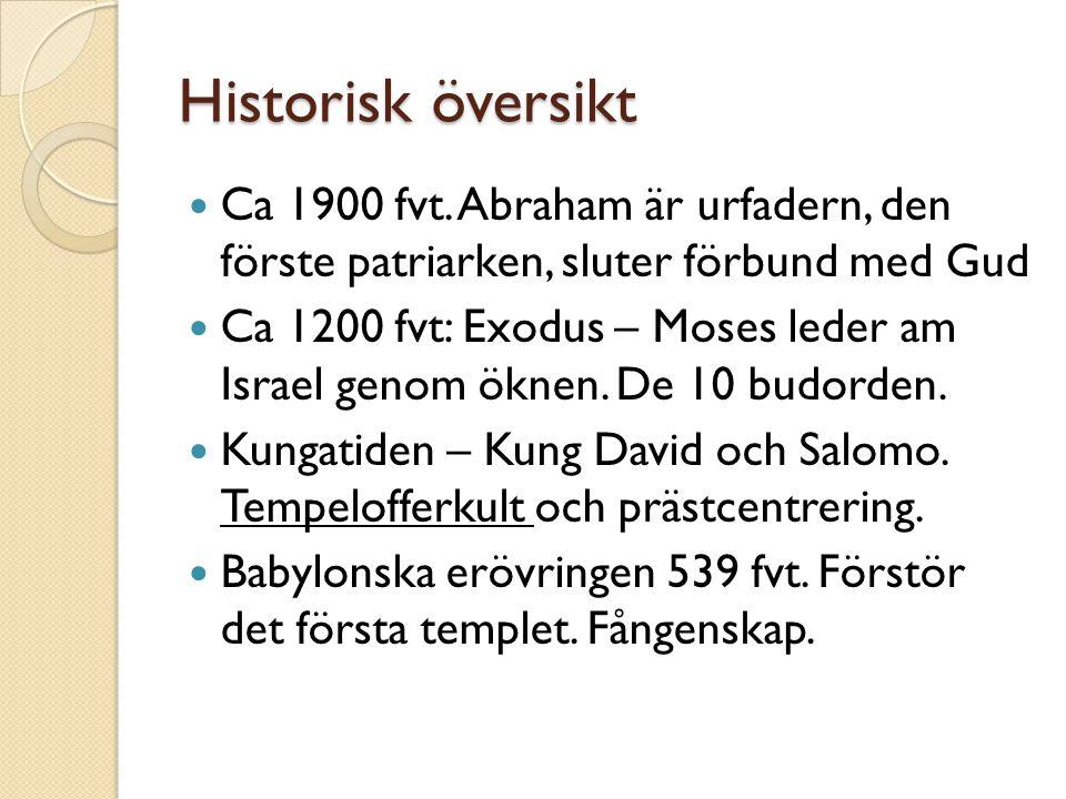 Historisk översikt Ca 1900 fvt. Abraham är urfadern, den förste patriarken, sluter förbund med Gud.