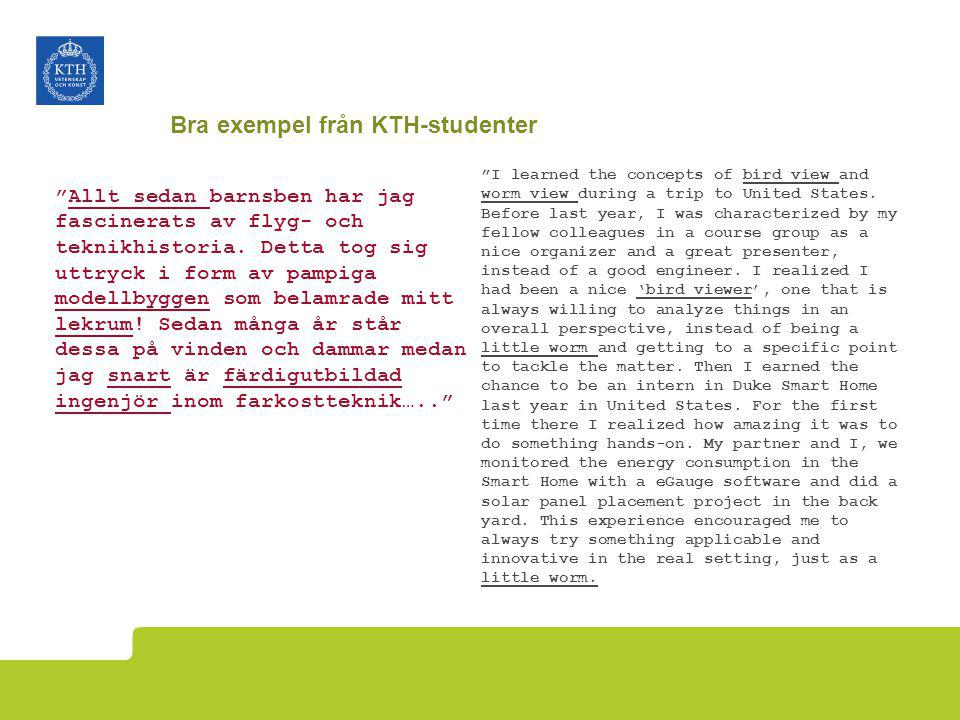 Bra exempel från KTH-studenter