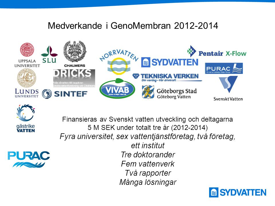 Medverkande i GenoMembran 2012-2014