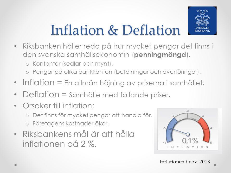 Inflation & Deflation Riksbanken håller reda på hur mycket pengar det finns i den svenska samhällsekonomin (penningmängd).