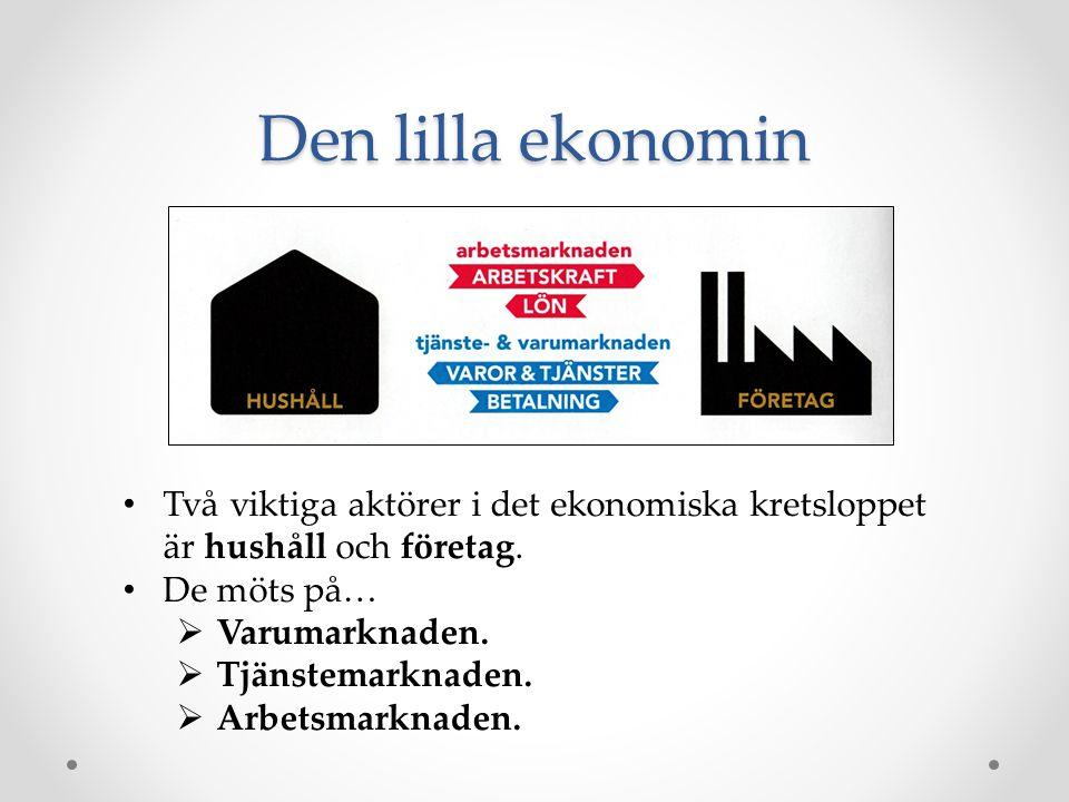 Den lilla ekonomin Två viktiga aktörer i det ekonomiska kretsloppet är hushåll och företag. De möts på…