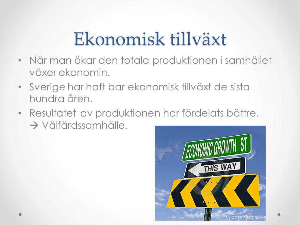 Ekonomisk tillväxt När man ökar den totala produktionen i samhället växer ekonomin. Sverige har haft bar ekonomisk tillväxt de sista hundra åren.