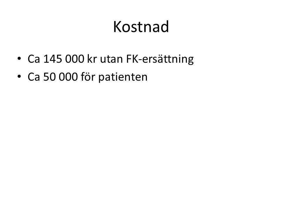Kostnad Ca 145 000 kr utan FK-ersättning Ca 50 000 för patienten