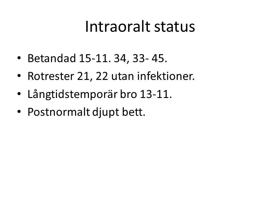 Intraoralt status Betandad 15-11. 34, 33- 45.