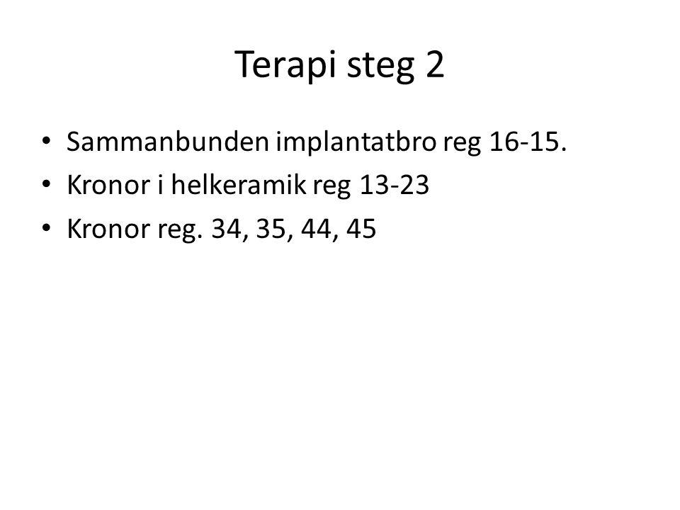 Terapi steg 2 Sammanbunden implantatbro reg 16-15.
