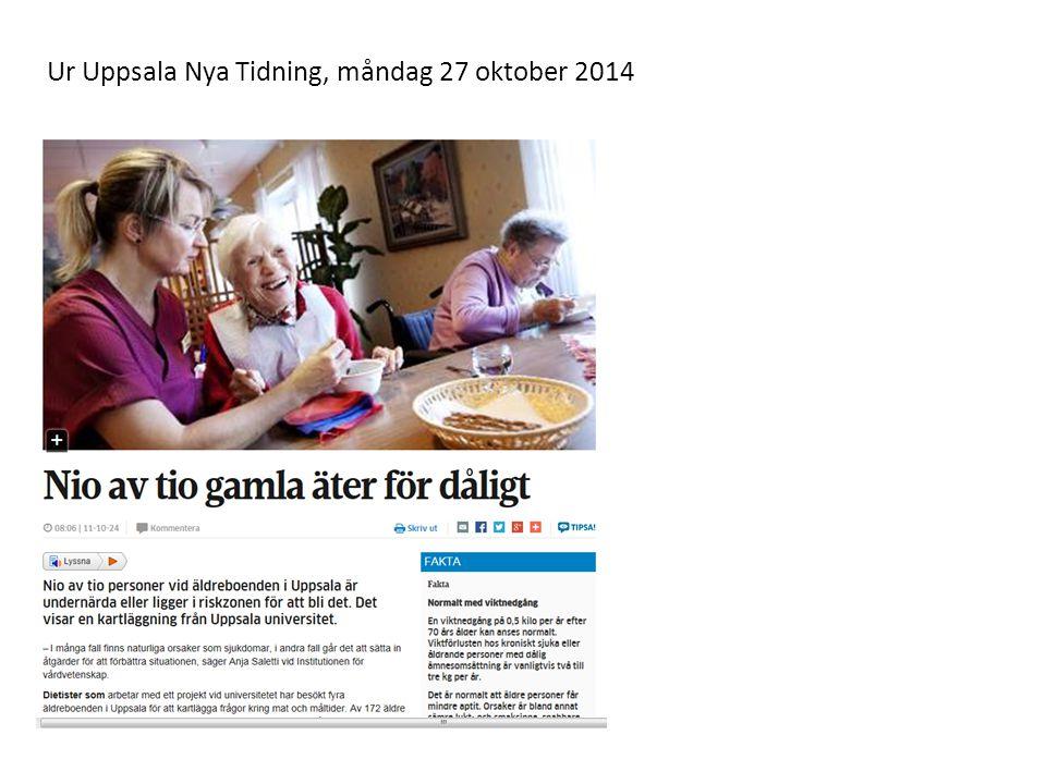 Ur Uppsala Nya Tidning, måndag 27 oktober 2014