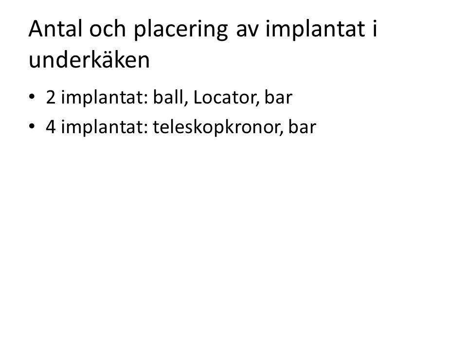Antal och placering av implantat i underkäken
