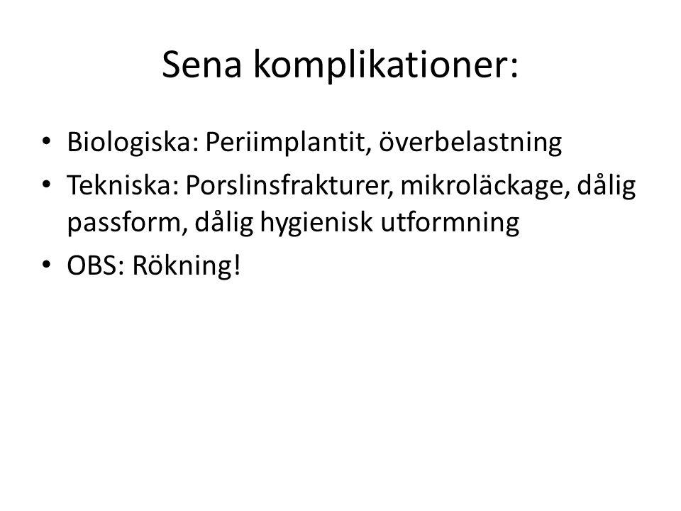 Sena komplikationer: Biologiska: Periimplantit, överbelastning