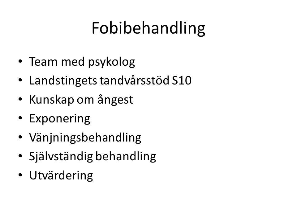 Fobibehandling Team med psykolog Landstingets tandvårsstöd S10