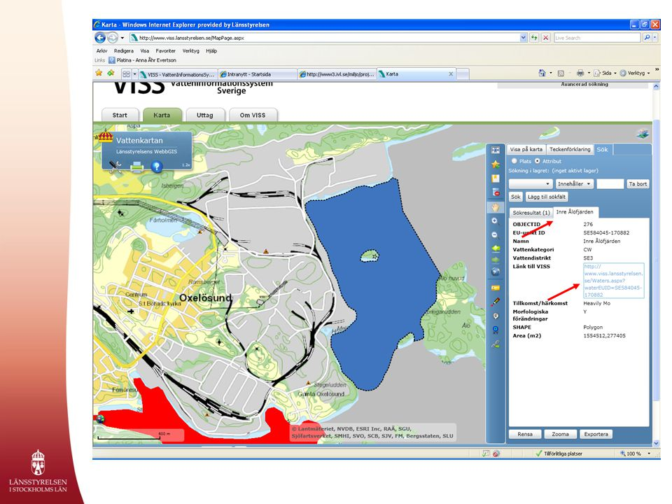 Här visar exemplet sökresultat för Inre Ålöfjärden, hamnverksamhet samt en länk till själva vattenförekomsten.