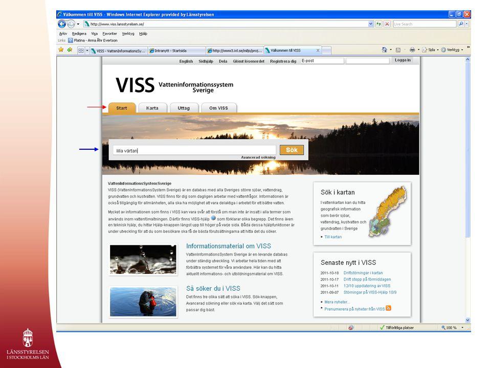 Det går att söka efter en vattenförekomst i sökfältet, här i exemplet är det Lilla Värtan (visas med blå pil), i Stockholms län.