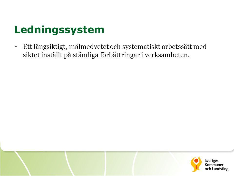 Ledningssystem Ett långsiktigt, målmedvetet och systematiskt arbetssätt med siktet inställt på ständiga förbättringar i verksamheten.