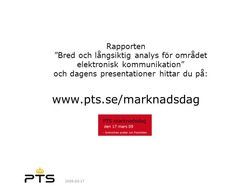 Rapporten Bred och långsiktig analys för området elektronisk kommunikation och dagens presentationer hittar du på: