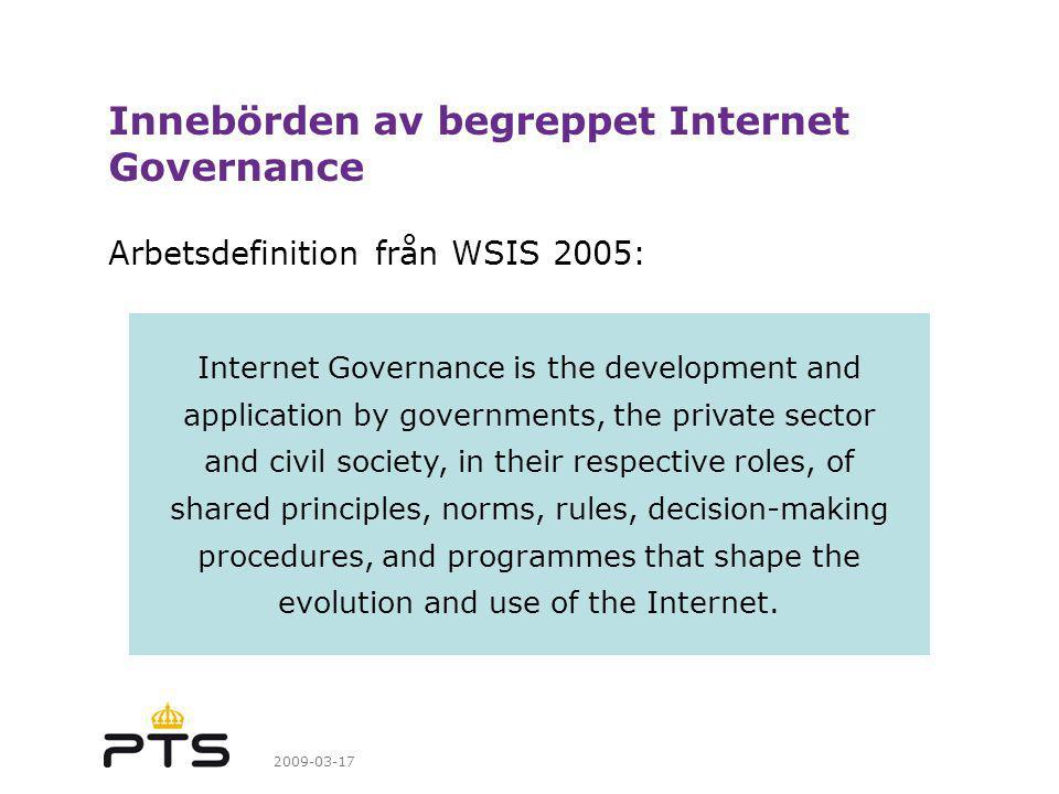 Innebörden av begreppet Internet Governance