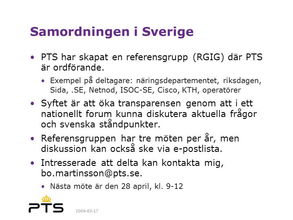 Samordningen i Sverige
