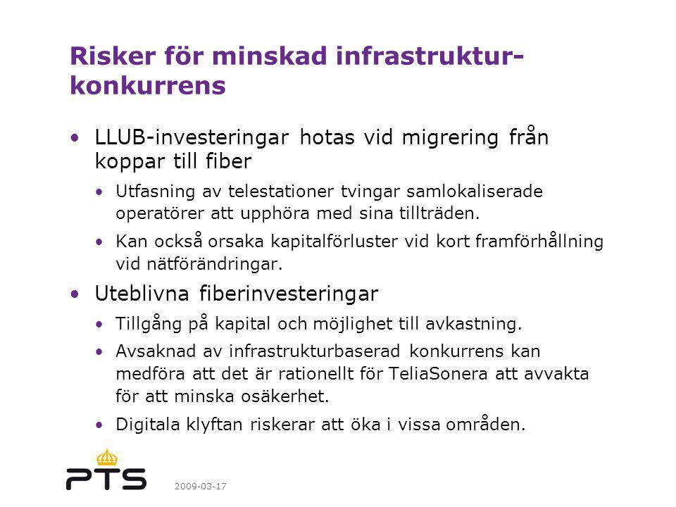 Risker för minskad infrastruktur-konkurrens